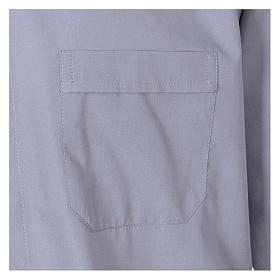 Camisa de sacerdote manga longa misto algodão cinzento claro In Primis s3