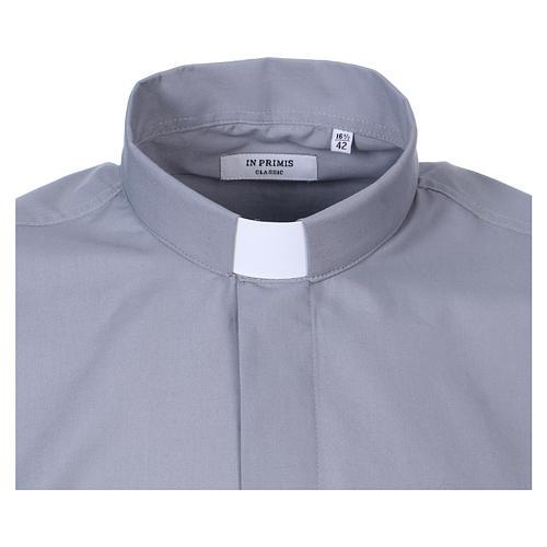 Camisa de sacerdote manga longa misto algodão cinzento claro In Primis 2
