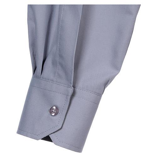 Camisa de sacerdote manga longa misto algodão cinzento claro In Primis 5