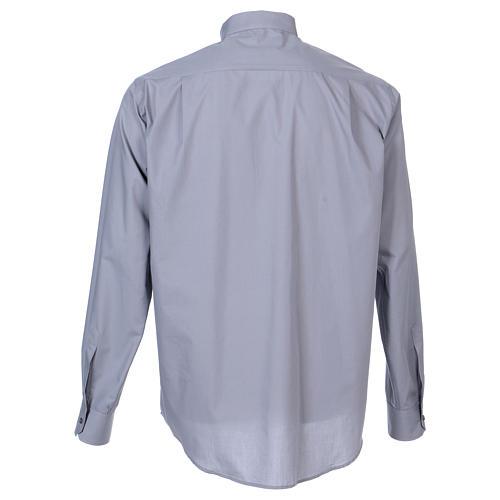 Camisa de sacerdote manga longa misto algodão cinzento claro In Primis 6