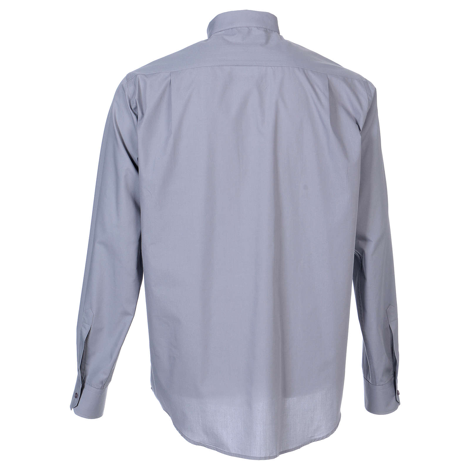 Long Sleeve Clergy Shirt in Light Gray, mixed cotton In Primis 4