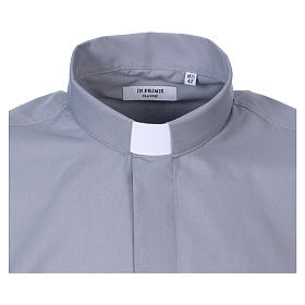 Long Sleeve Clergy Shirt in Light Gray, mixed cotton In Primis s2