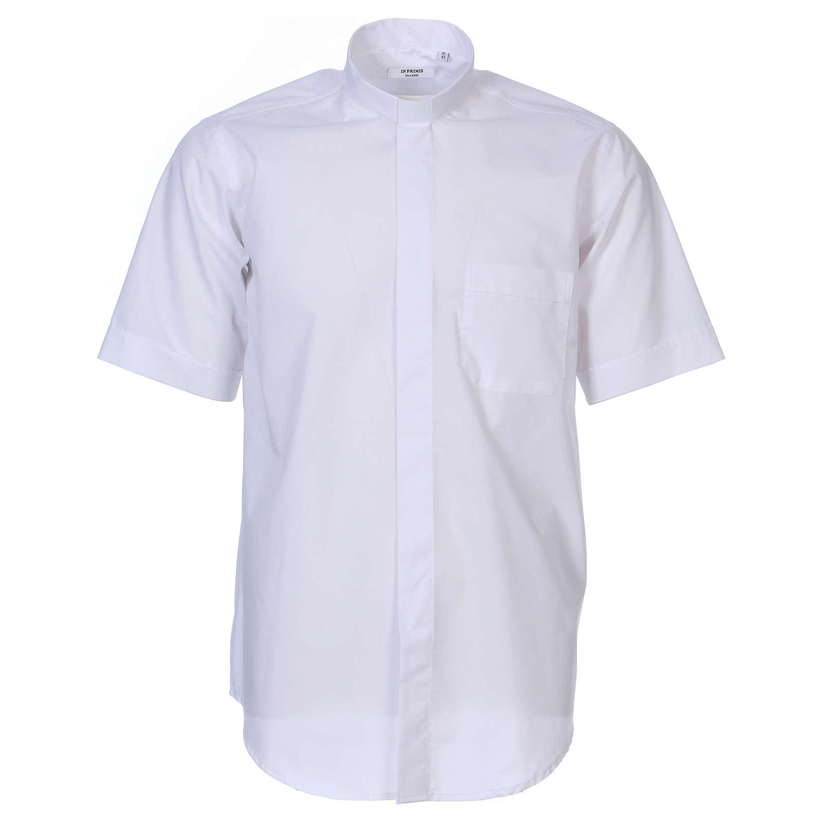 Collarhemd mit Kurzarm aus Mischgewebe in der Farbe Weiß In Primis 4