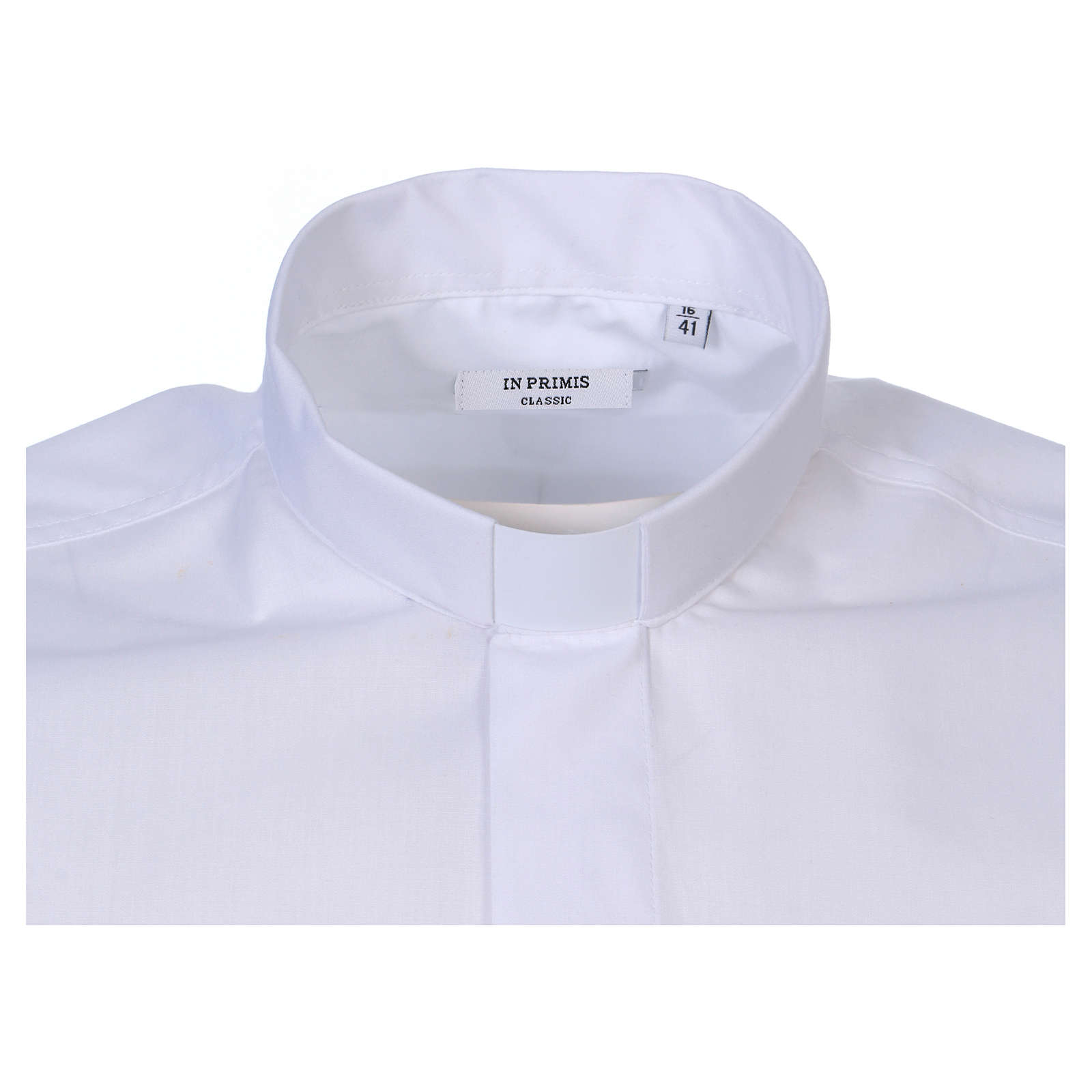 Short-sleeved clergy shirt in white cotton blend In Primis 4