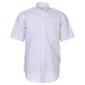 Clerical Shirts and collars: Short-sleeved clergy shirt in white cotton blend