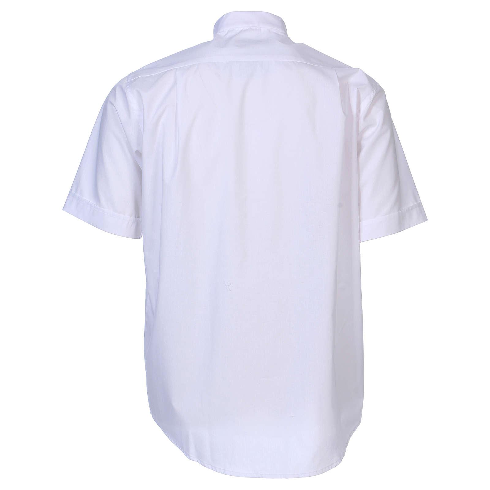 Camisa clergyman manga corta mixto algodón blanca In Primis 4