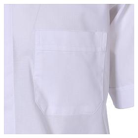 Camisa clergyman manga corta mixto algodón blanca In Primis s3