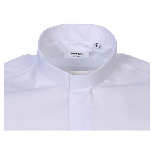 Camisa clergyman manga corta mixto algodón blanca In Primis 2