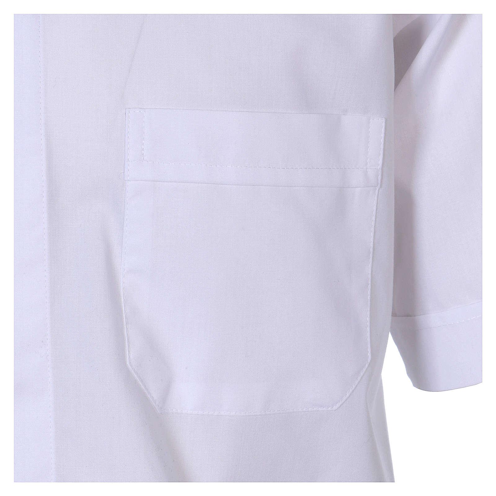 Chemise Clergyman manches courtes tissu mixte coton blanc In Primis 4