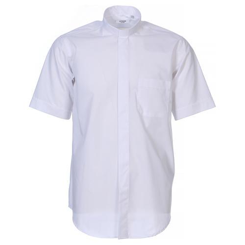 Chemise Clergyman manches courtes tissu mixte coton blanc In Primis 1