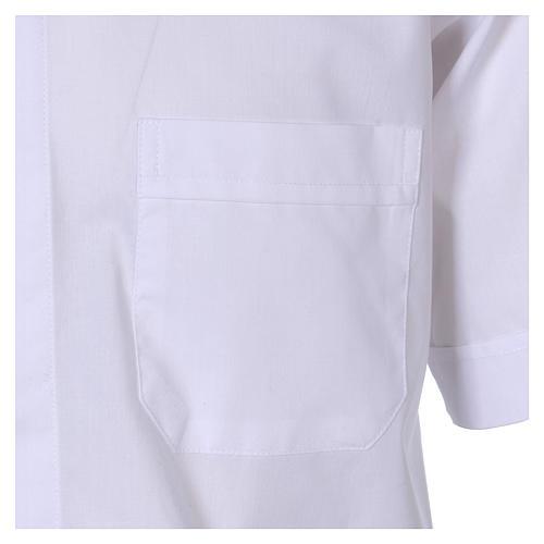 Chemise Clergyman manches courtes tissu mixte coton blanc In Primis 3