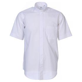 Camisas de Sacerdote: Camisa de sacerdote manga curta misto algodão branco