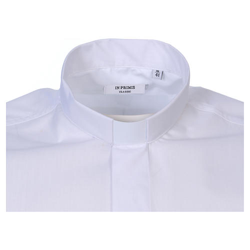 Short Sleeve White Clergy Shirt, mixed cotton In Primis 2