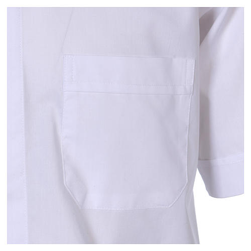 Short Sleeve White Clergy Shirt, mixed cotton In Primis 3
