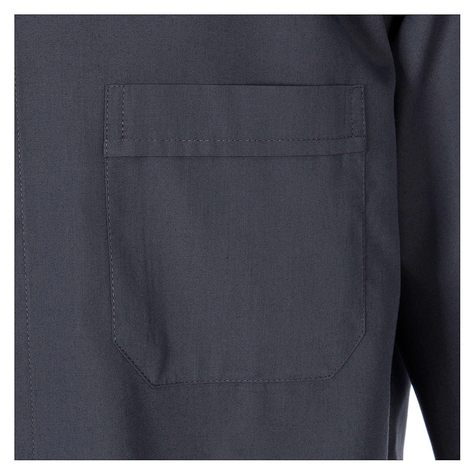 Collarhemd mit Langarm aus Baumwoll-Mischgewebe in der Farbe Dunkelgrau In Primis 4