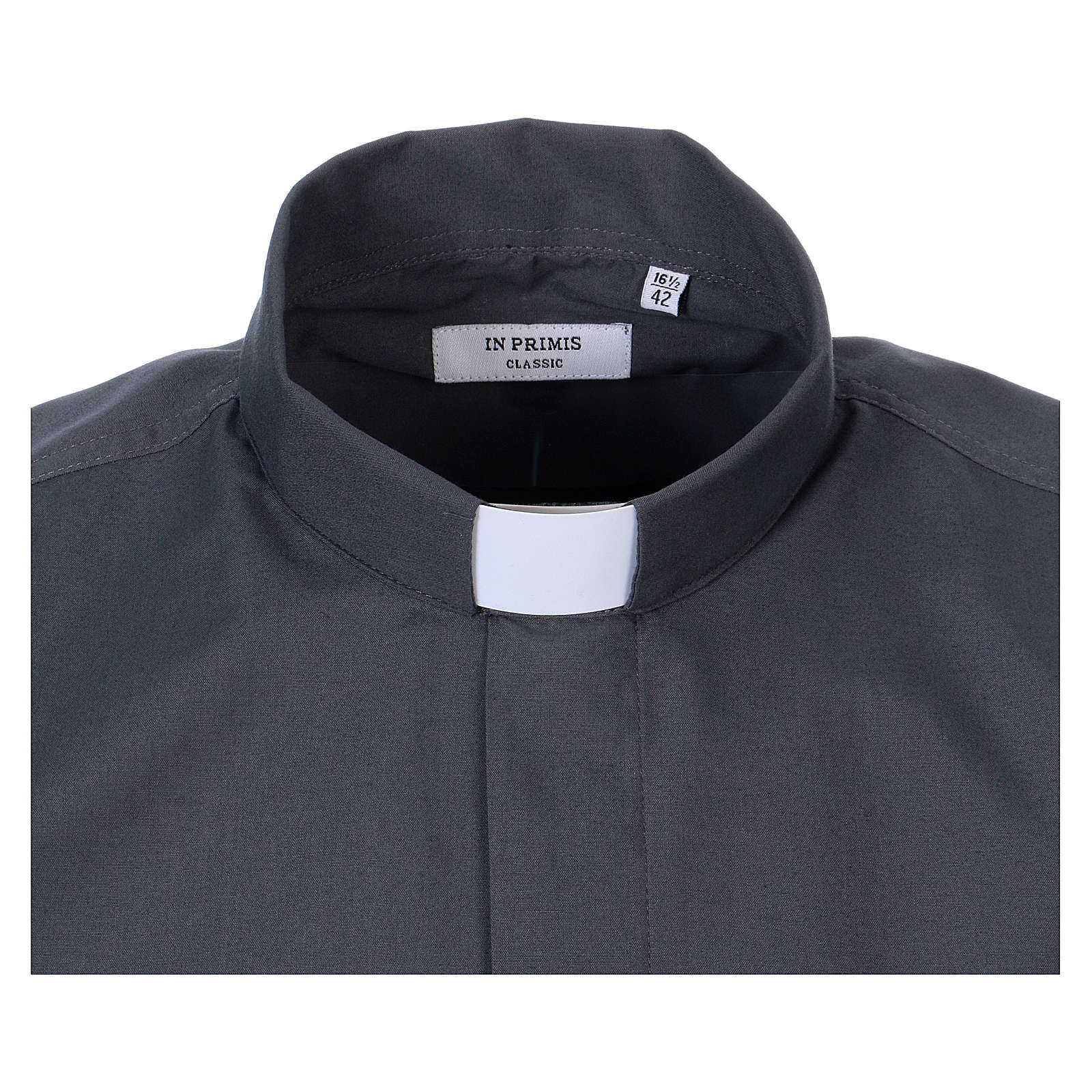 Long-sleeved clergy shirt in dark grey cotton blend In Primis 4