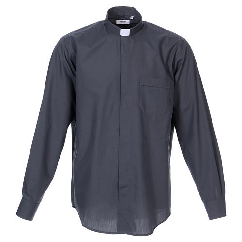 Long-sleeved clergy shirt in dark grey cotton blend In Primis 1