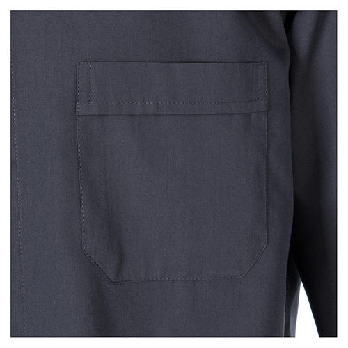 Long-sleeved clergy shirt in dark grey cotton blend In Primis 3