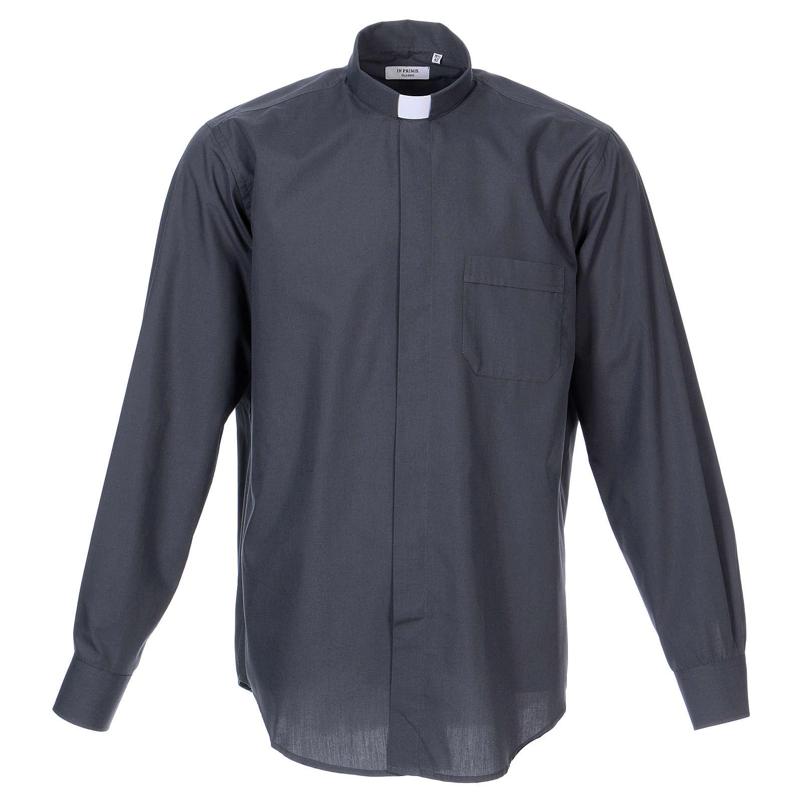 Camisa Clergy mixto algodón manga larga gris oscuro In Primis 4
