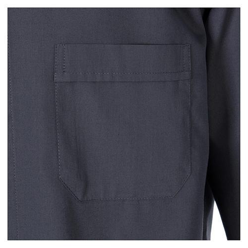 Chemise Clergy tissu mixte coton longues manches gris foncé In Primis 3