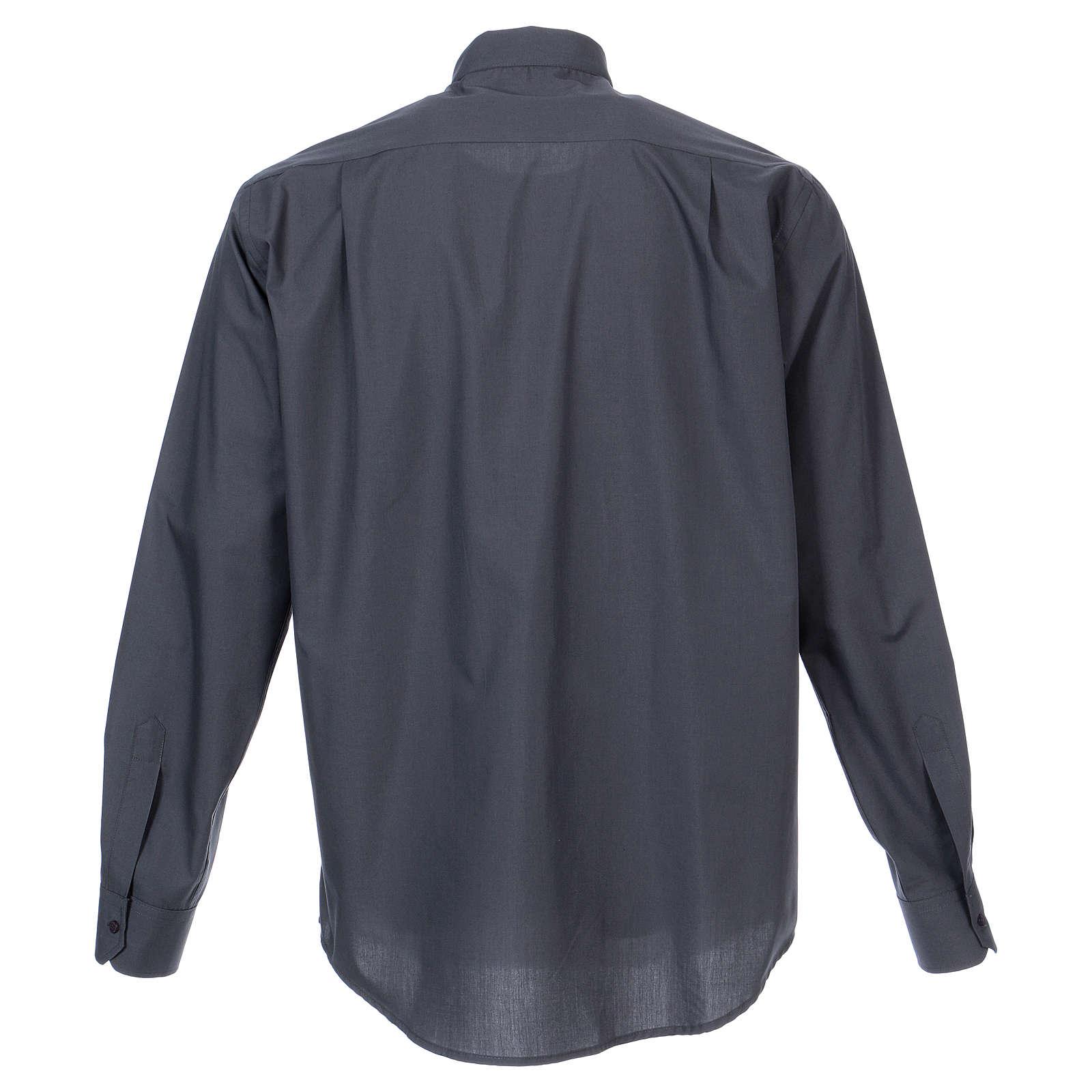 Koszula kapłańska długi rękaw ciemny szary mieszana bawełna In Primis 4