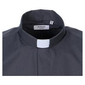 Koszula kapłańska długi rękaw ciemny szary mieszana bawełna In Primis s2
