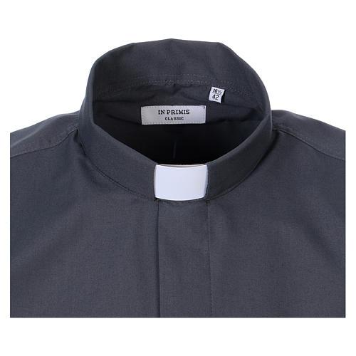 Koszula kapłańska długi rękaw ciemny szary mieszana bawełna In Primis 2