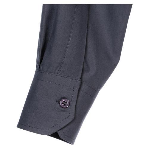 Koszula kapłańska długi rękaw ciemny szary mieszana bawełna In Primis 5