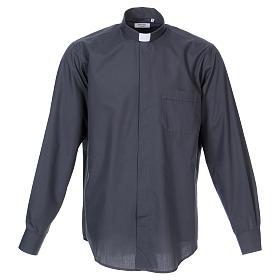 Camisas de Sacerdote: Camisa Clergyman manga longa misto algodão cinzento escuro