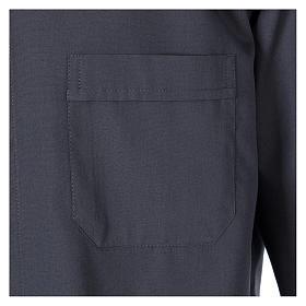 Camisa Clergyman manga longa misto algodão cinzento escuro In Primis s3