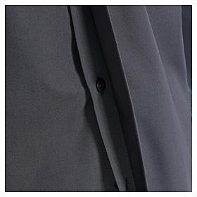 Camisa Clergyman manga longa misto algodão cinzento escuro In Primis s4
