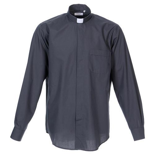 Camisa Clergyman manga longa misto algodão cinzento escuro In Primis 1