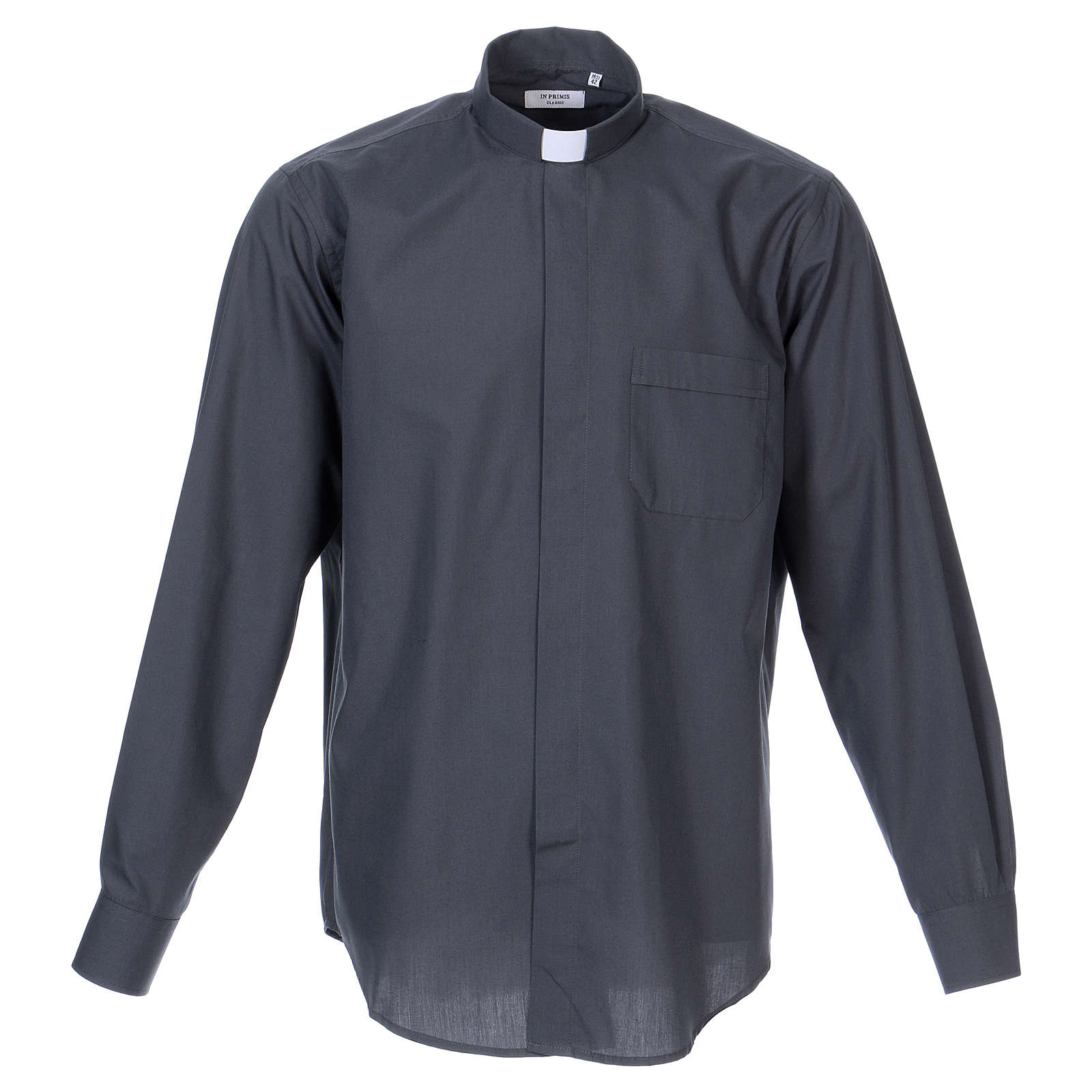 Long Sleeve Clergy Shirt in Dark Gray, mixed cotton In Primis 4