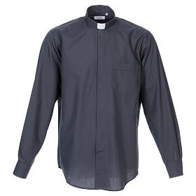 Long Sleeve Clergy Shirt in Dark Gray, mixed cotton In Primis s1