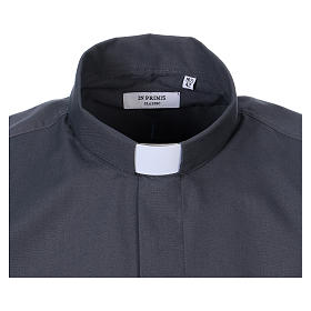 Long Sleeve Clergy Shirt in Dark Gray, mixed cotton In Primis s2