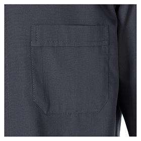 Long Sleeve Clergy Shirt in Dark Gray, mixed cotton In Primis s3