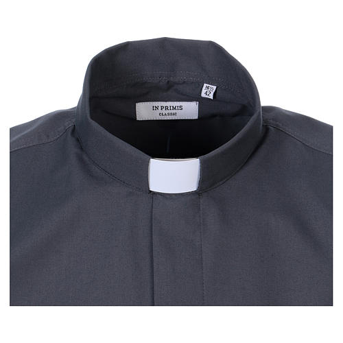 Long Sleeve Clergy Shirt in Dark Gray, mixed cotton In Primis 2