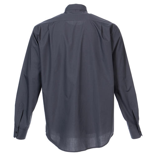 Long Sleeve Clergy Shirt in Dark Gray, mixed cotton In Primis 6