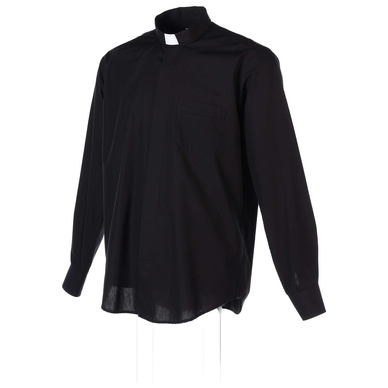 Long-sleeved clergy shirt in black cotton blend 4