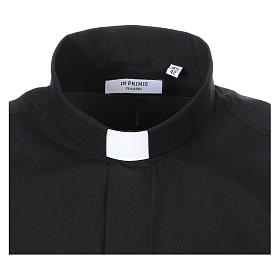 Long-sleeved clergy shirt in black cotton blend s2