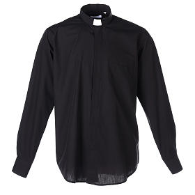 Long-sleeved clergy shirt in black cotton blend s1