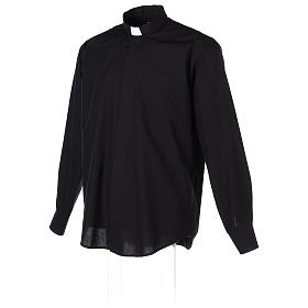 Long-sleeved clergy shirt in black cotton blend s4
