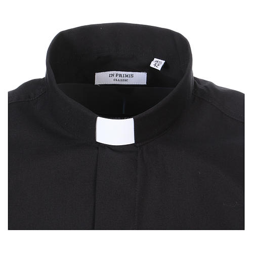 Long-sleeved clergy shirt in black cotton blend 2