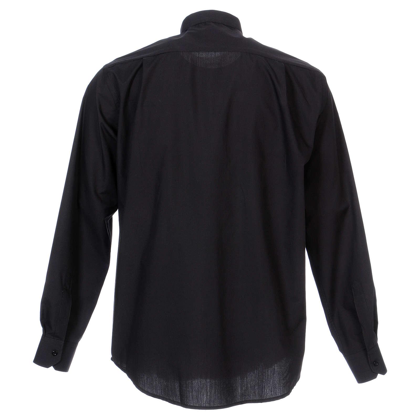 Camisa clergyman manga larga mixto algodón negra 4
