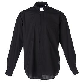 Camisas Clergyman: Camisa clergyman manga larga mixto algodón negra