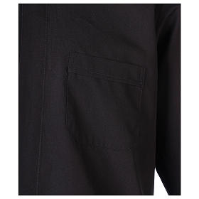 Camisa clergyman manga larga mixto algodón negra s2
