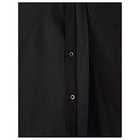 Camisa clergyman manga larga mixto algodón negra s5