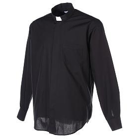 Camisa clergyman manga larga mixto algodón negra s6
