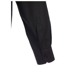 Camisa clergyman manga larga mixto algodón negra s7