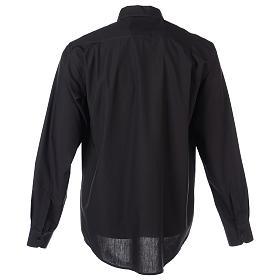 Camisa clergyman manga larga mixto algodón negra s8